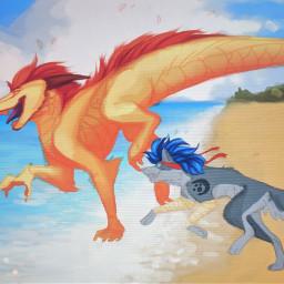drawing dragon crazykiff wolf digitalart
