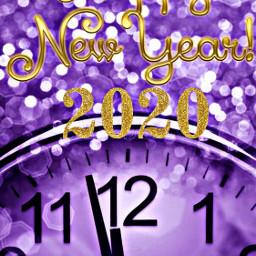 freetoedit happynewyear 2020 clock purple