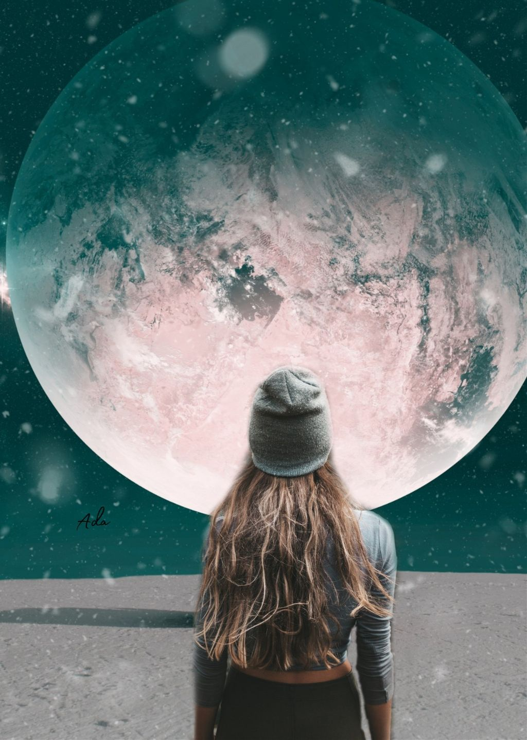 """I m such a"""" look at the moon"""" type of person..❤️    #freetoedit #girl#moon"""