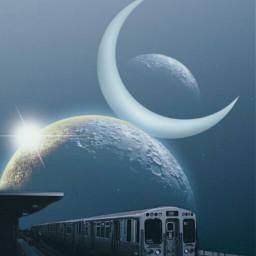 freetoedit train moon planet surreal
