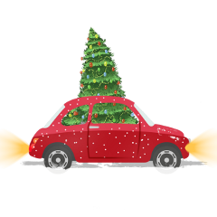 ftestickers car christmastree vintage cute freetoedit