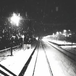 snowing night blackandwhite railway railroad freetoedit