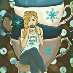 freetoedit cups coffee snowflakes girl