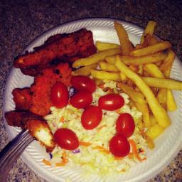 supper yummy chicken fries salad