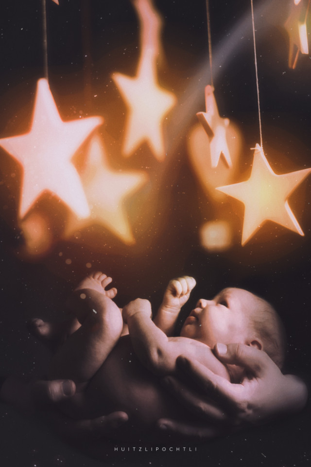 Watching for the first time to the stars   Baby picture from pexels (Rene Asmussen)   #surreal #surrealism #fantasy #stars #cosmic #baby #freetoedit