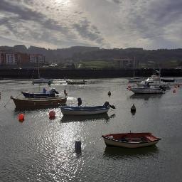 boats reflection sea autum