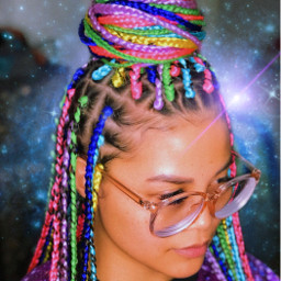 freetoedit colorfulhair galaxy