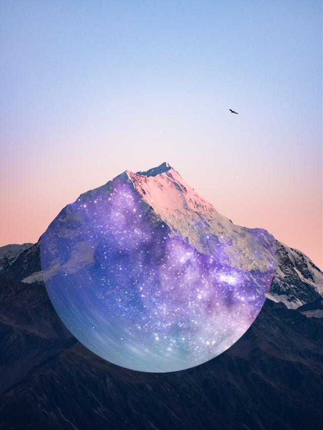 I see the way you shine✨   #edit #art #galaxy #purple #mountian #sky @picsart @freetoedit #freetoedit