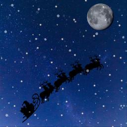 freetoedit christmas holidays moon santasleigh