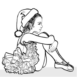 freetoedit girl sitting xmas outline