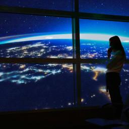 freetoedit window woman outerspace planetearth
