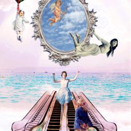 freetoedit surreal floating mirror escalator