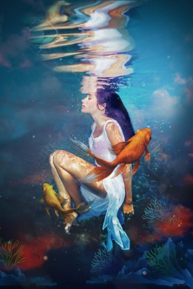 #freetoedit  #imagination  #nature  #mar #fishs  #edit  #myedit  #girl  #woman  #coral  #inspiration  #ocean  #fundodomar  #water  #swimming