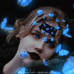 butterfly women surreal madewithpicsart blue freetoedit