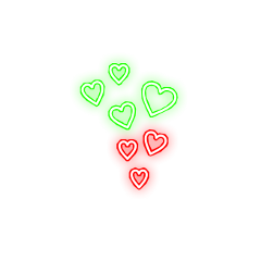 freetoedit beautiful colorful hearts neon