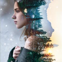 freetoedit doubleexposure woman winter forest