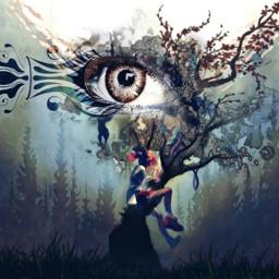 freetoedit tree wood eye art ircmagiceye magiceye