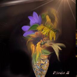 myedit vase sunflowers sunflower flowers freetoedit