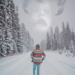 snow winter cold man walking scary freetoedit