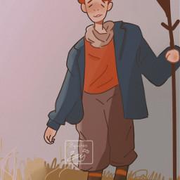 interesting farm boy people myart scarf freetoedit