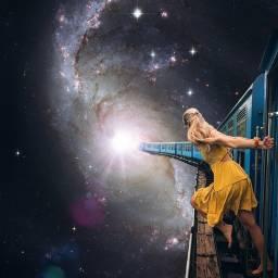 freetoedit edit surreal galaxy train