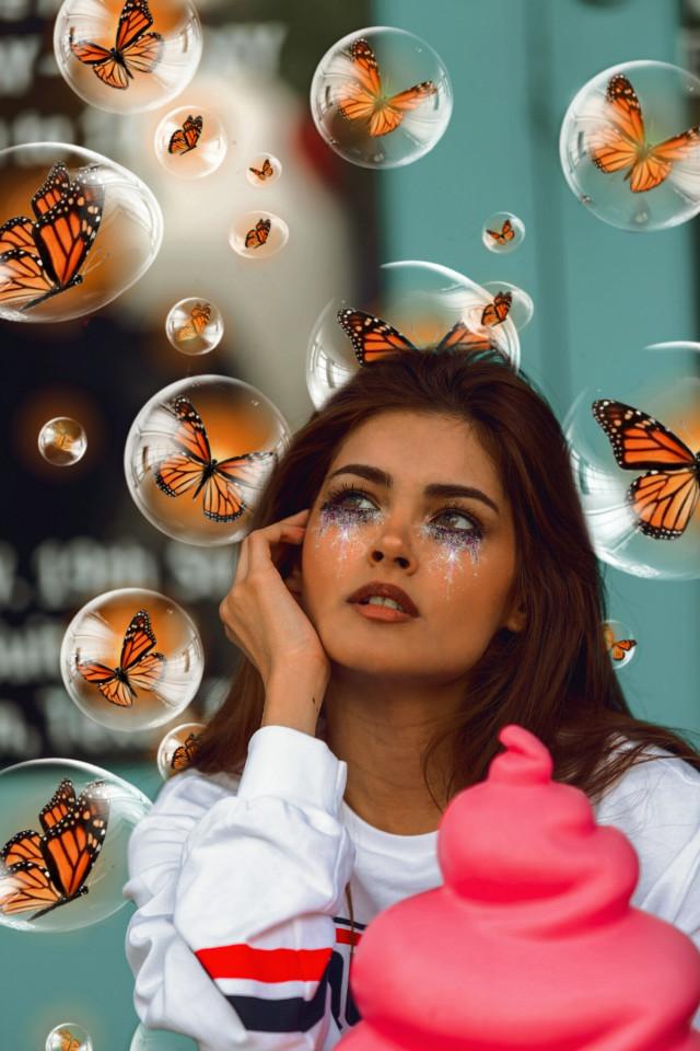 #freetoedit #butterflies #galaxytear #picsartfilter #new #girl #woman #lady #imagination #remix