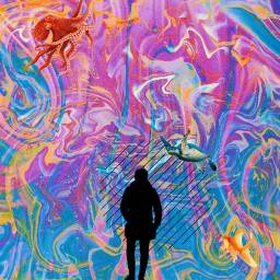 psychedelic colorful rainbow ocean animals freetoedit ircmansilhouette mansilhouette