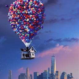 freetoedit up balloons skyline sky ircaestheticsky aestheticsky