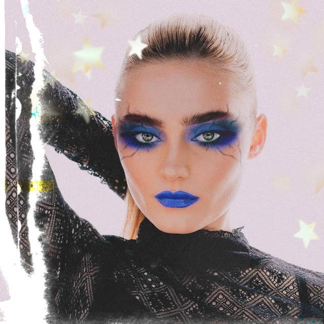 INSTAGRAM: @margo34277 YOUTUBE CHANNEL: Margo Picsart  #freetoedit #girl #makeup #eyeshadows #model  #eyeliner #maquillaje #lips #blue #stars #vintage  #modelo #outfit #remixit