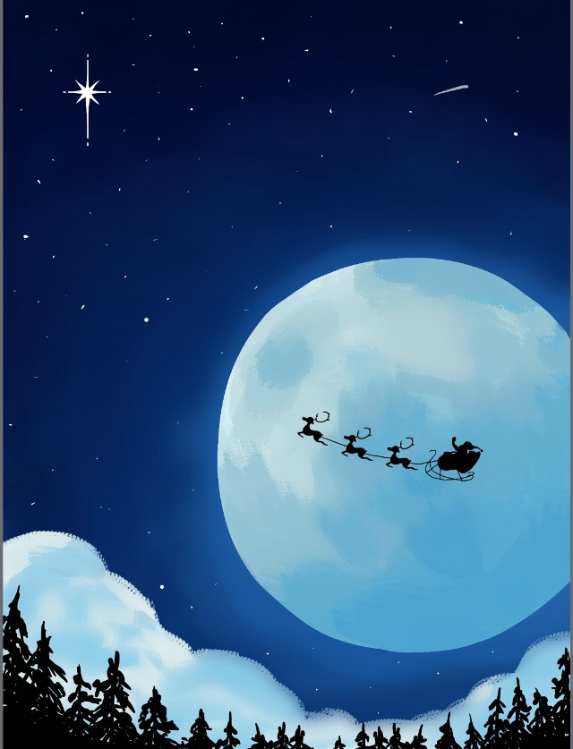 #christmas #christmasspirit #christmasnight #santa #raindeer #xmasreindeer #moon #sky #nightsky #drawing #xmasdrawing #stars  #forest #trees   #freetoedit