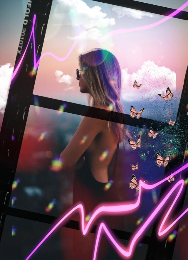#freetoedit #woman #stars #holographic #film #sky #neon