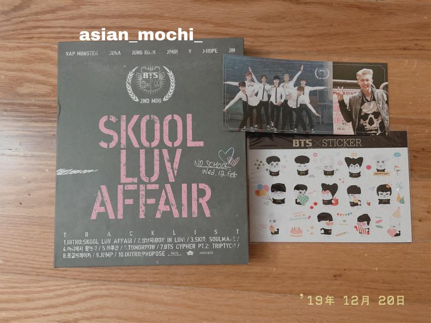 i got skool luv affair!! In every bts album i have, namjoon is on a photorcard 😂 #bts