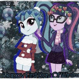 mylittlepony mylittleponyequestriagirls twilightsparkle sonatadusk winteroutfit freetoedit
