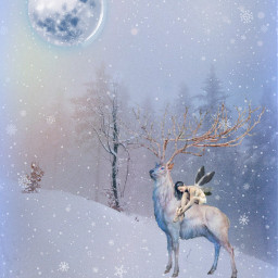 freetoedit fantasyart deer fairy winter