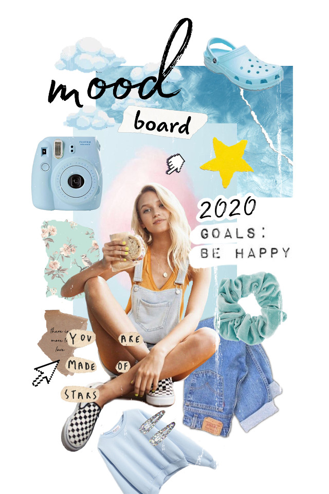 #moodboard #girl #collage #inspiration #pantone #blue #2020pantonecolor #bluemoodboard  #goals #2020moodboards  #sketcheffect #papertorn #plants #motivationalquotes  #freetoedit