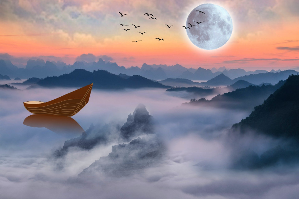 #freetoedit #nature #landscape #mountains #fog #boat #moonlight #skylovers #skyporn #naturesbeauty #aestheticedit #becreative #myedit #madewithpicsart