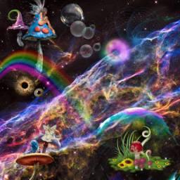 space fantasy mushroom nebula fairies science freetoedit
