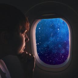 freetoedit galaxy airplanewindow airplane plane