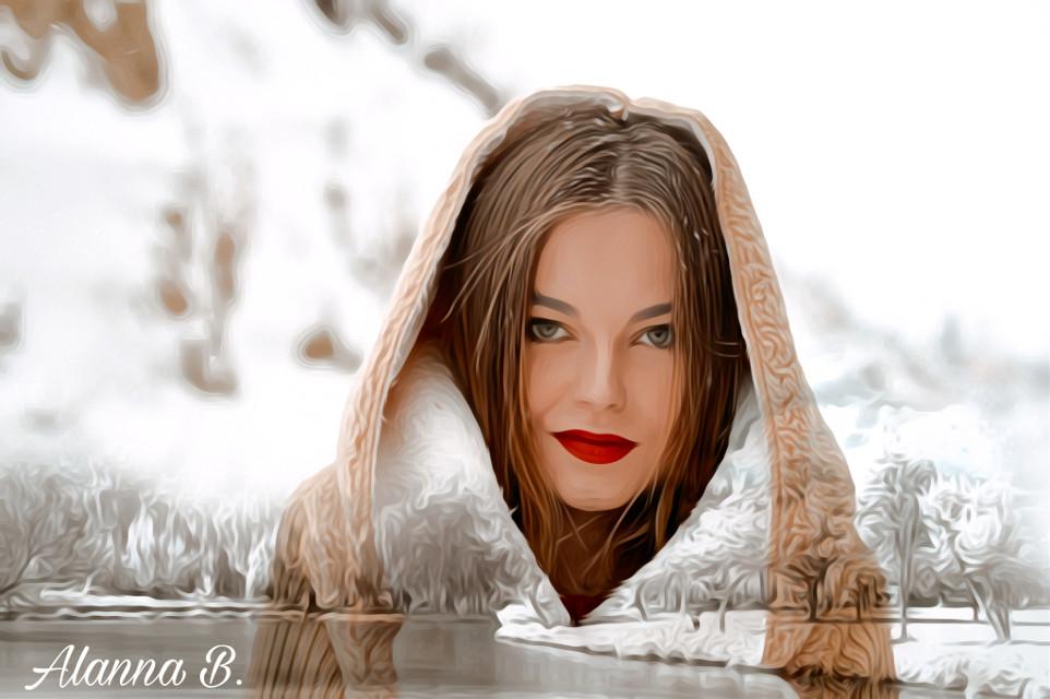 #freetoedit # #my edit# #blendedphoto # winter# girl# #oilpaintingeffect
