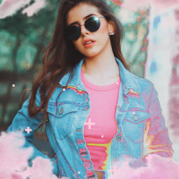 freetoedit pink girl chic holographic