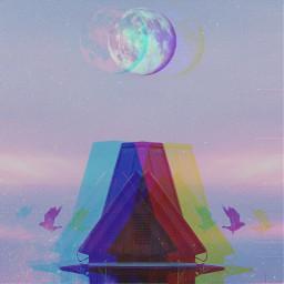 freetoedit popart poparteffect moon bulidings