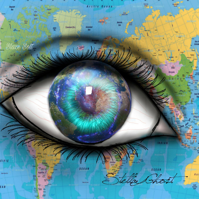 #freetoedit #vipshoutout goes to the awesome drawing gallery of @stellaghostarts , please check out this gallery and give her lots of love! #eye #globe #map #world