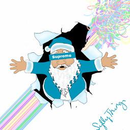 drawingbyme santa blue gift christmas dctrendysanta trendysanta