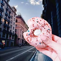 freetoedit interesting city donut pink