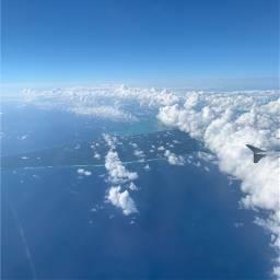 noedit blue sky airplane travel freetoedit