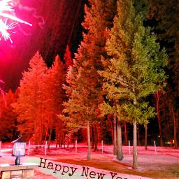 freetoedit newyearseve fireworks colorful trees