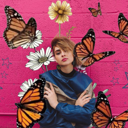 freetoedit girls flowers butterflys butterflies