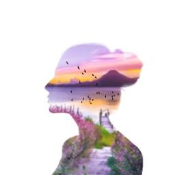 freetoedit woman profile doubleexposure landscape ircelegantsilhouette