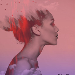 pink lady doubleexposure red madewithpicsart freetoedit