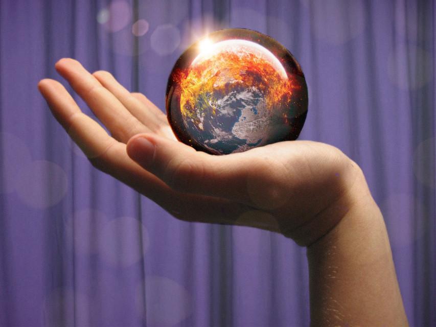 #freetoedit #world #glassball #hand #glares #future #worldonfire #fire #burning